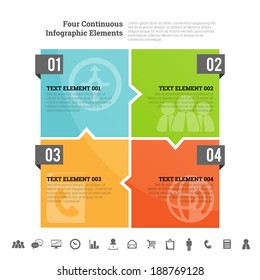 Vector illustration of four continuous infographic element.