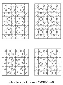 Vector illustration of four different white puzzles, separate pieces