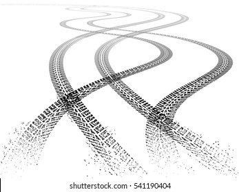 Vector illustration of four dirty grunge Tire tracks fading into the horizon