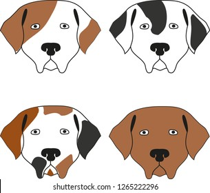 vector illustration with four dog heads in different colors