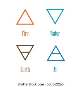 Vector illustration four elements icons, line symbols.  Air, fire, water and earth symbol. Alchemy icons. Four basic elements.