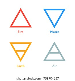 Vector illustration of four elements icons, triangle icons symbols. Logo template. Wind, fire, water, earth symbol. Pictograph.
