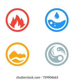 Vector illustration of four elements icons, round icons symbols. Logo template. Wind, fire, water, earth symbol. Pictograph.
