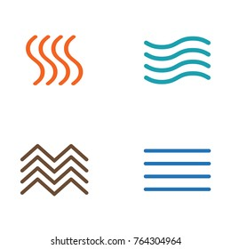 Vector illustration of four elements icons, line symbols. Logo template. Wind, fire, water, earth symbol. Pictograph.