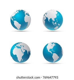 Vector illustration of four globe icons with smooth shadows and white map of the continents of the world