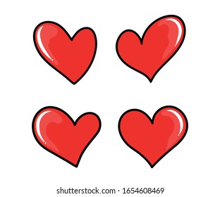 Vector illustration of four hearts