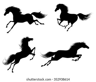 Vector illustration of a four horses silhouettes