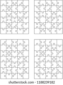 Vector illustration of four jigsaw puzzles, isolated pieces