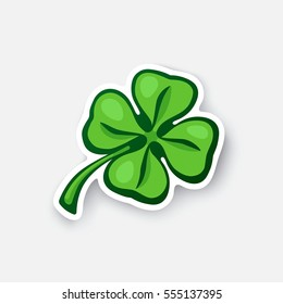 Vector illustration. Four leaf green clover. Lucky quatrefoil. Good luck symbol. Cartoon sticker in comic style with contour. Decoration for greeting cards, patches, prints for clothes, emblems