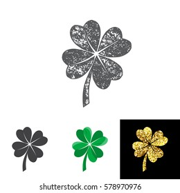 Vector illustration of four leaved clover set for saint Patricks day greeting with grunge, silhouette and gold lucky shamrock isolated on white background