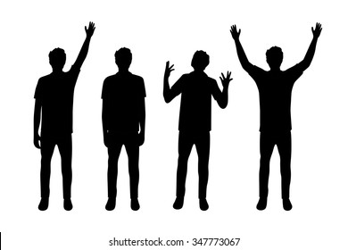 Vector illustration of four men silhouettes under the white background