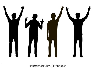 Vector illustration of four men silhouettes with hands up under the white background. Black people silhouette