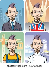 Vector illustration of Four Occupations of Punk Guy. Easy-edit layered vector EPS10 file scalable to any size without quality loss. High resolution raster JPG file is included.
