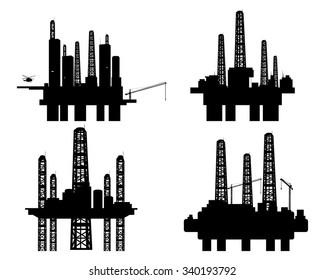 Vector illustration of a four oil platforms