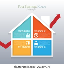 Vector illustration of four part segment house infographic.