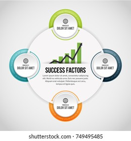 Vector illustration of Four Process Circle Clips Infographic design element.