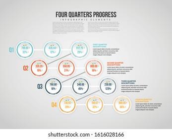 Vector illustration of Four Quarters Progress Infographic design element.