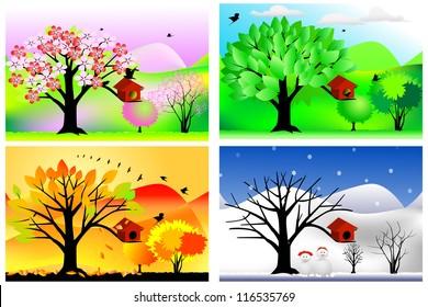 vector illustration of four seasons