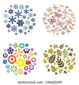 vector illustration of four seasons autumn winter spring summer background in circle shape design for each with corresponding symbols flowers leaves butterflies and snowflakes