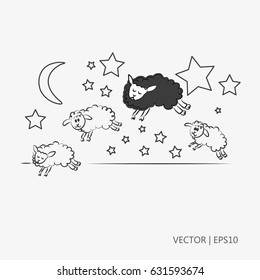 Vector illustration. Four sheeps jumping. Black sheep. Counting sheep to sleep. Night with stars and moon. Sketch. Drawing for children. Flat icon