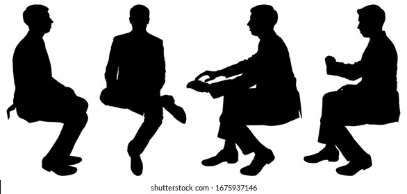 Vector illustration four silhouettes of men sitting in a circle, one after another. Businessman in a suit sits and looks at the wristwatch. Guy sits cross-legged, view in full view. Turn. In transport