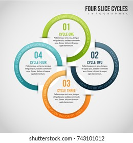 Vector illustration of four slice cycles infographic design element.