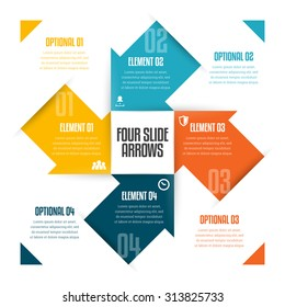 Vector illustration of four slide arrows infographic design element.