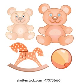 Vector illustration of a four toys set