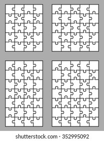 Vector illustration of four white puzzles, separate pieces