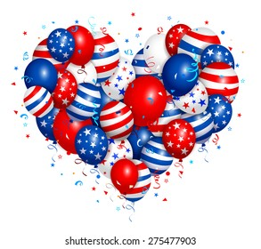 Vector illustration of fourth of july heart balloons. Used transparency and blending mode. Objects are layered.