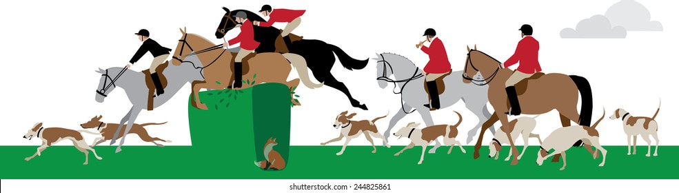 Vector illustration of a fox hunt