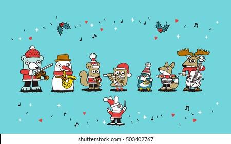 Vector illustration - Fox, penguin, rabbit, snowman, bear, santa,deer playing Christmas concert.