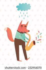 Vector illustration of fox playing saxophone