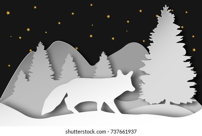 Vector illustration of fox in winter forest in layered paper art style.