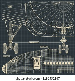 Vector illustration of a fragment of drawings of a civilian aircraft in the retro style