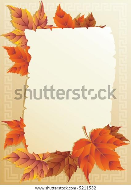 Vector illustration - frame from autumn leaves