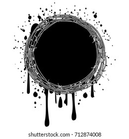 Vector illustration frame of  barbed wire on grunge background.
