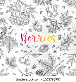 Vector illustration frame with currant, blueberry, cranberry, goji, raspberry, strawberry. Healthy food design template with berries on grunge background. Great for design menu, recipes, poster