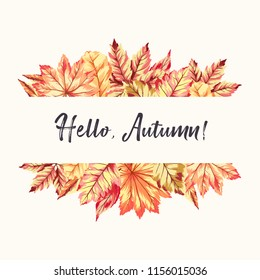 Vector illustration of frame with fall leaves. Seasonal background for card, banner, flyer concept.