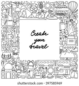 Vector illustration of frame with hand drawn doodle travel elements
