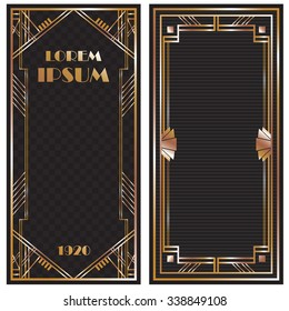 Vector illustration a frame, invitation card template in art deco style, rich golden color