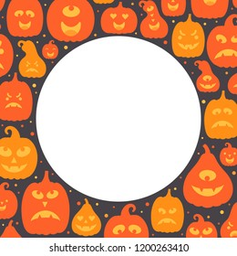 Vector illustration: frame of orange scary carved pumpking icons isolated on black background. Decorative element for Halloween party greeting cards, posters, postcards, wrapping paper, scrapbooking