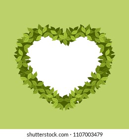vector illustration frame in the shape of heart arch of leaves