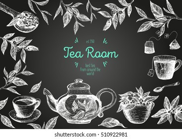 Vector illustration frame for Tea Shop. Vector card design with tea. Poster for tea house. Vector hand drawn set. Linear graphic banner.