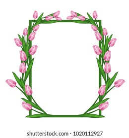Vector illustration of a frame of a tulip