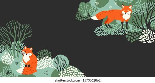 Ilustración vectorial con el marco del bosque nevado invernal y los zorros rojos. Es bueno para banner en Navidad y Año Nuevo.