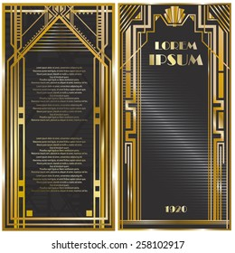 Vector illustration of frames, invitation cards templates in art deco style, rich golden color