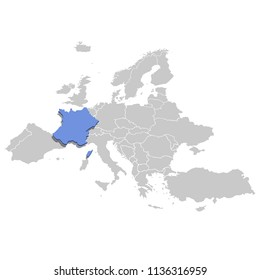 Vector illustration of France in blue on the grey model of Europe map.