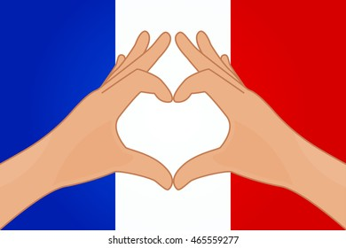 Vector illustration of France flag and hands making a heart shape