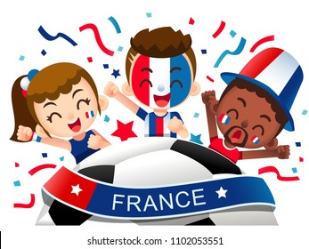 Vector illustration of France football fans characters celebrating